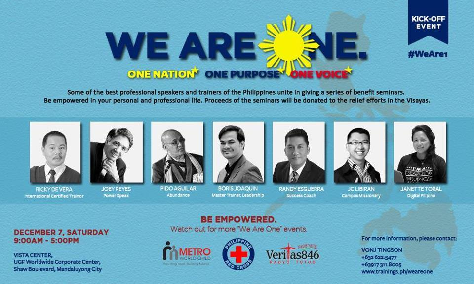 we are 1 seminar to benefit Yolanda victims