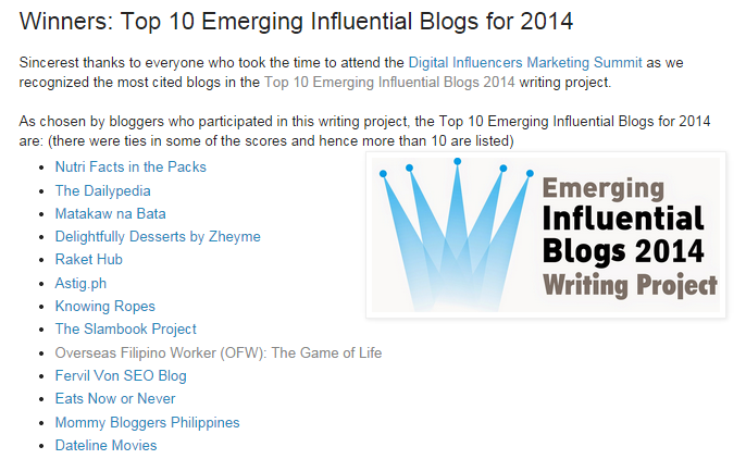 Top 10 Emerging Influential Blogs for 2014